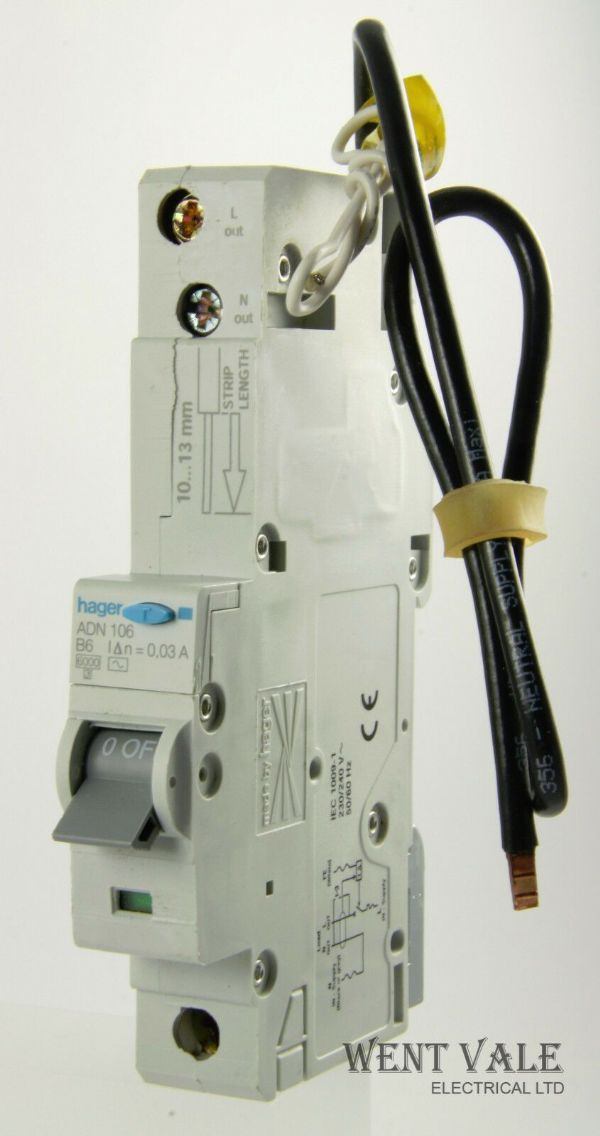 Hager ADN106 - 6a 30mA AC Type B Single Pole RCBO Used